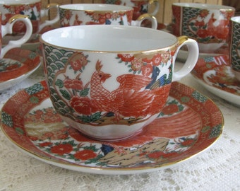 Imari Peacock cups and saucers by Arita 7 Sets Vintage Dinnerware and Replacements