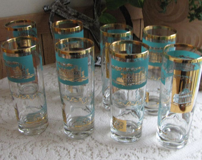 Riverboat Tom Collins Glasses Gold and Turquoise Southern Comfort Promotional Federal Glass Co. Vintage Barware Set of Eight (8)