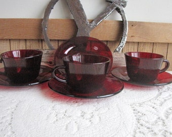 Red Cups and Saucers 3 Cups and 4 Saucers Royal Ruby by Anchor Hocking Vintage Drinkware