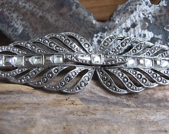 Marcasite and Rhinestone Bar Brooch Vintage Jewelry and Accessories