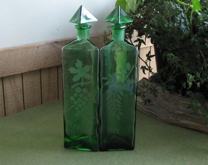 Vintage Green Vinegar and Oil Bottles Etched Jars Triangular Condiment and Salad Dressing