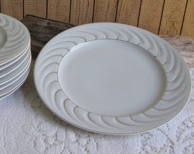 Occupied Japan Gold Swirled Dinner Plates Eight (8) Vintage Dinnerware and Replacements
