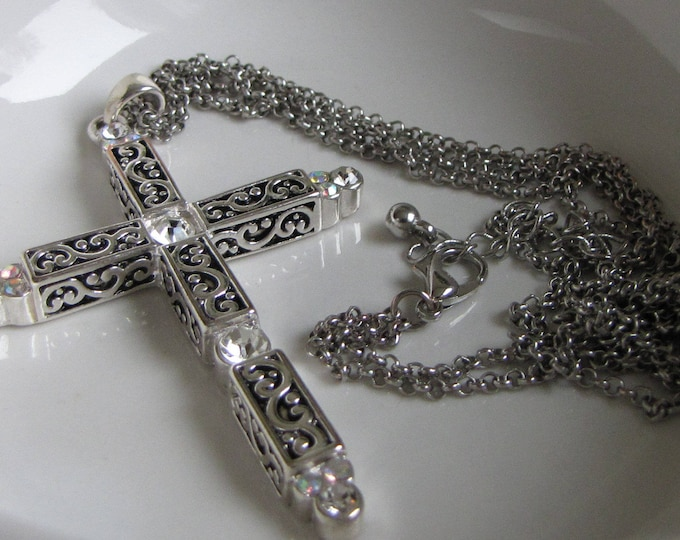 Cross Necklace Silver Toned and Rhinestones Vintage Jewelry and Accessories