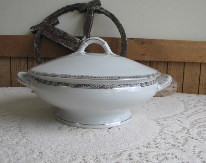 Austrian Porcelain Covered Bowl O&EG Royal Austria Greek Key Antique Dinnerware and Replacements