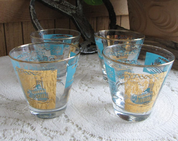 Riverboat Rock Glasses Southern Comfort Promotional Federal Glass Co. Vintage Barware Set of Four (4) Gold and Turquoise