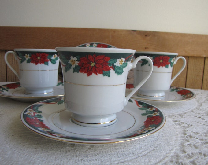 Deck the Halls Cups and Saucers Set of Three (3) Tien Shan Fine China Vintage Holiday Dinnerware and Replacements