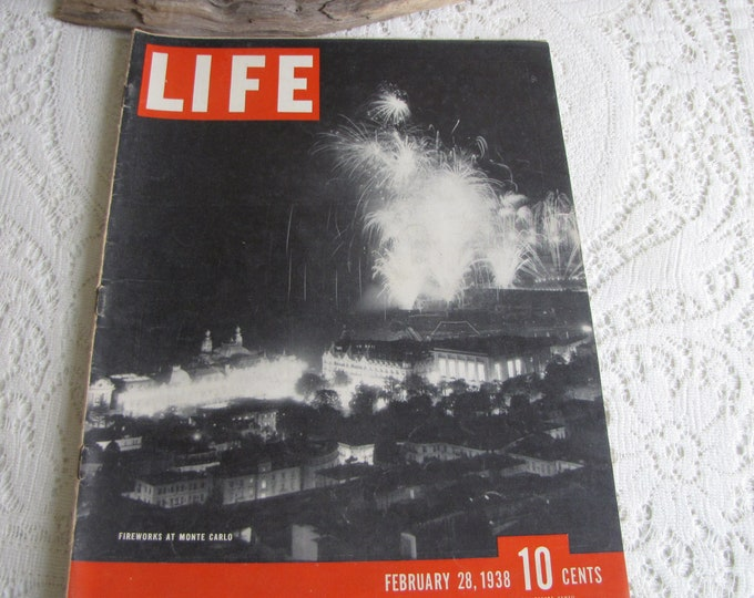 Life Magazines 1938 February 28 Fireworks at Monte Carlo Vintage Magazines and Advertising