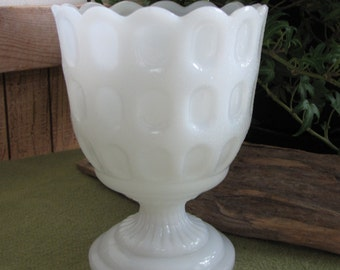 Vintage Milk Glass Thumbprint Planter E.O. Brody M4200 Cleveland OH