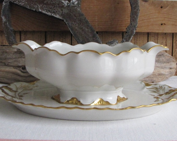 Haviland Ranson gravy boat with underplate 1920s Antique Dinnerware and Replacements