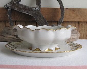 Haviland Ranson Gravy Boat with Underplate Vintage Dinnerware and Replacements Gold Trim Circa 1920s