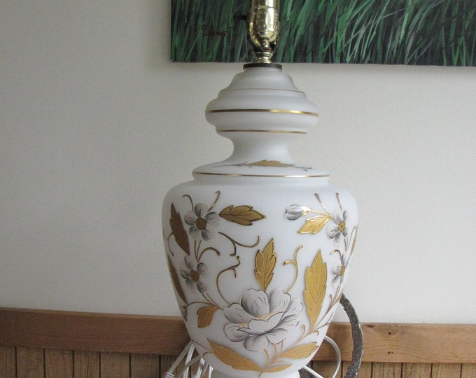 West Germany Lamp Blown Glass and Hand Painted Vintage Lighting and Home Decor