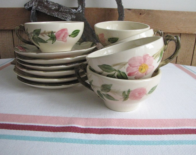 Franciscan Desert Rose Cups and Saucers Vintage Dinnerware and Replacements Set of Six (6) Circa 1964