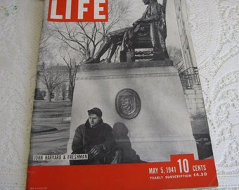Life Magazines 1941 May 5 John Harvard & Freshman Vintage Magazines and Advertising
