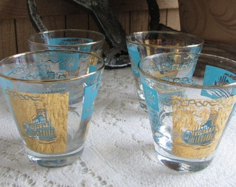 Riverboat Rock Glasses Southern Comfort Vintage Barware Set of Four (4) Gold and Turquoise