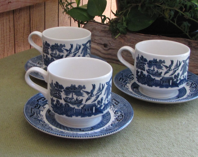 Vintage Blue Willow Ware Cups and Saucers Churchill 1989 Set of Three (3) Coffee Cups