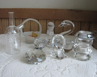Vintage Lot of Crystal Small Glass Items Home and Kitchen Decor Eight (8) Crystal Pieces