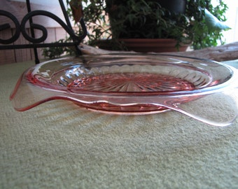Vintage Pink Depression Glass Small Plate Rolled Edge Starburst Design Butter Dish