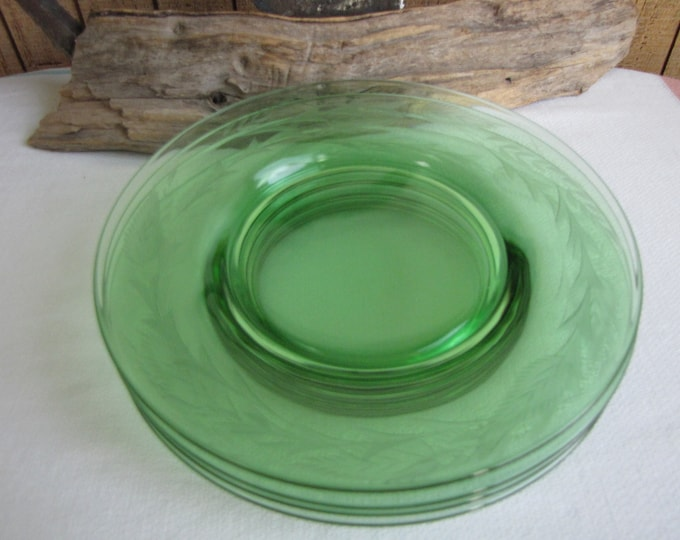 Etched Green Depression Glass Plates Set of Four (4) Small Salad Plates Vintage Dinnerware and Replacements