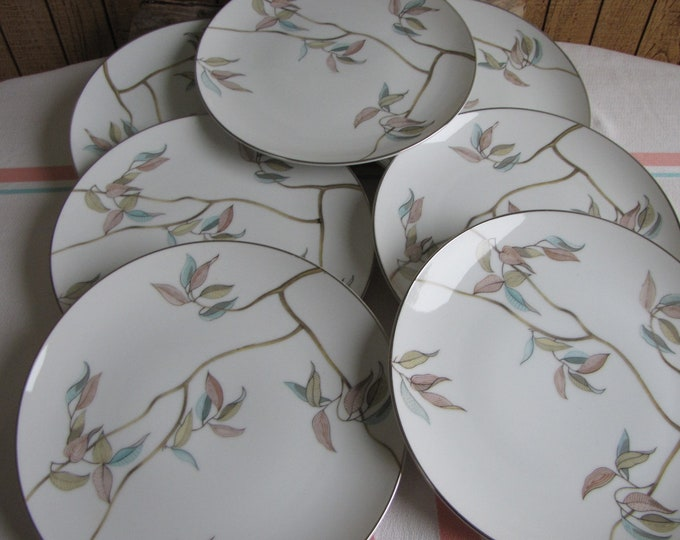 Tropic Leaves Salad Plates by Fine China Japan set of 7 Vintage Dinnerware and Replacements