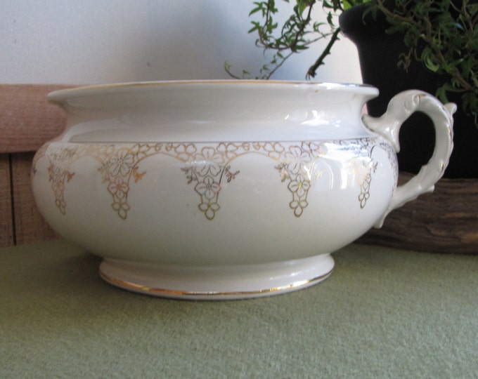 Chamber Pot White and Gold Porcelain Lotus Ware Florist Ware Antique Commode Planters and Pots