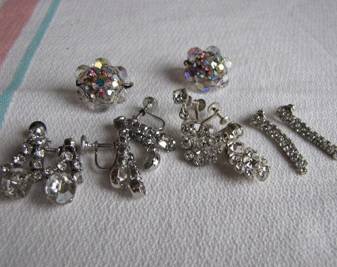 Rhinestone Earrings Lot set of 5 pairs of earrings Vintage Jewelry and Accessories