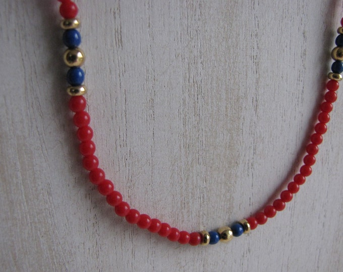 Monet Red Beaded Choker Vintage Jewelry and Accessories