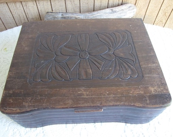 Old Wooden Box Carved Lid and Dovetailed Vintage Jewelry and Storage Boxes