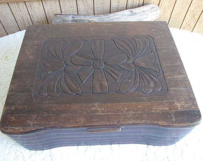 Old Wooden Box Carved Lid and Dovetailed Vintage Boxes