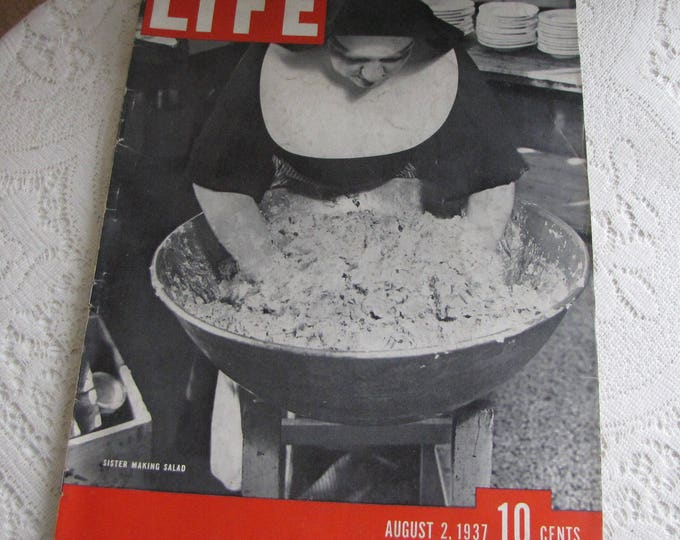 Life Magazines 1937 August 2 Sister Making Salad Vintage Magazines and Advertising