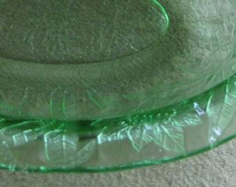 Green Depression Glass Oval Platter Jeannette Glass Floral Pattern 1931-1935 Uranium Glass