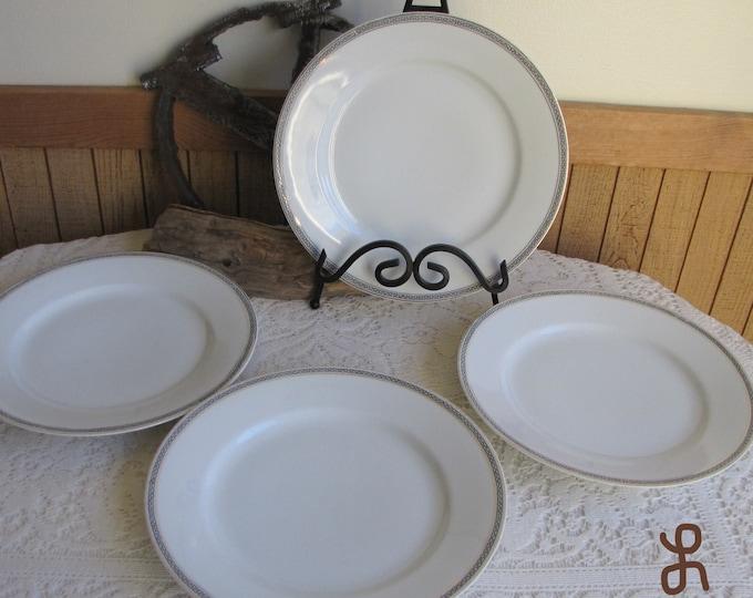 Austrian Porcelain O&EG Royal Austrian Greek Key Antique Dinnerware and Replacements Set of Four (4)