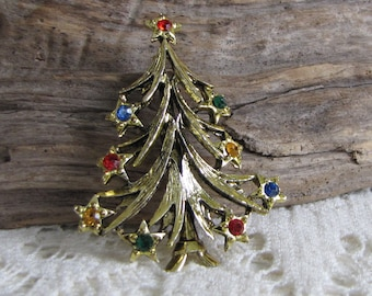 Christmas Tree Brooch Vintage Holiday Jewelry and Accessories Gold Toned