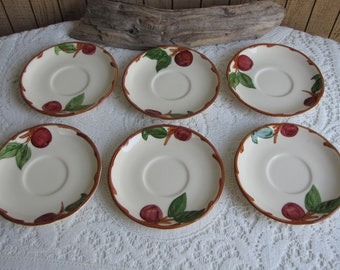 Franciscan Apple Saucers Set of Six (6) Gladding McBean Vintage Dinnerware and Replacements 1953-1958