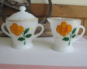 Fire King Shell Pattern Cream and Sugar Bowl Anchor Hocking 1965 – 1976 Vintage Dinnerware and Replacements Gold Trimmed