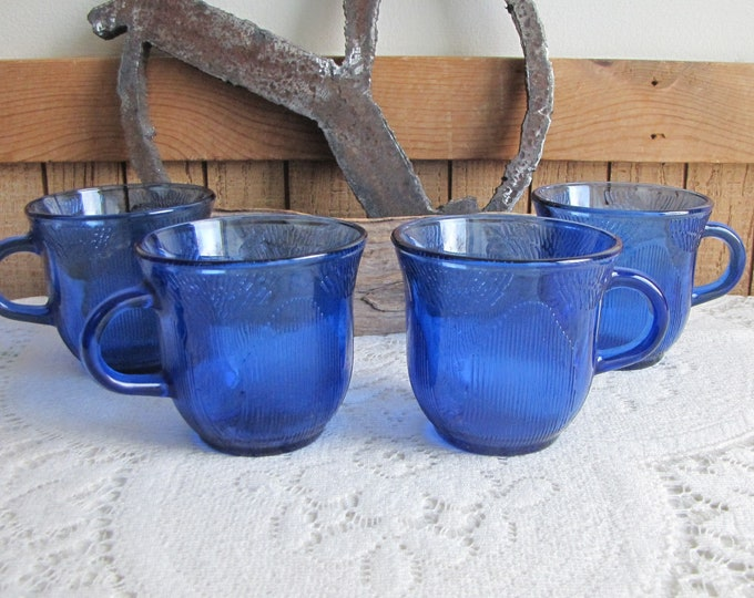 Forte Crisa Cobalt Blue Coffee Cups Vintage Drinkware and Blue Kitchens Set of Four (4) Made in Mexico