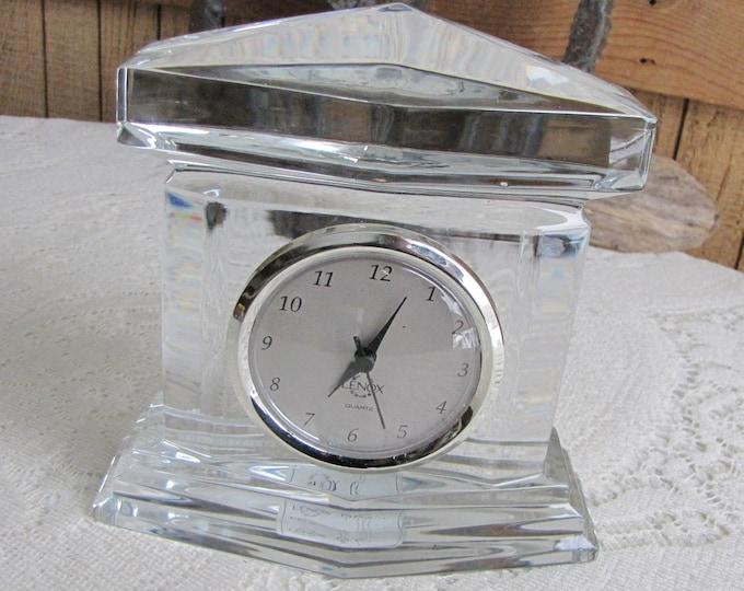 Vintage Lenox Crystal Monument Mantel Clock Ovations Line