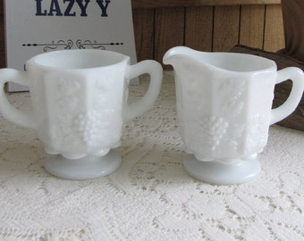 Westmoreland Milk Glass Cream and Sugar Bowl Paneled Grapes
