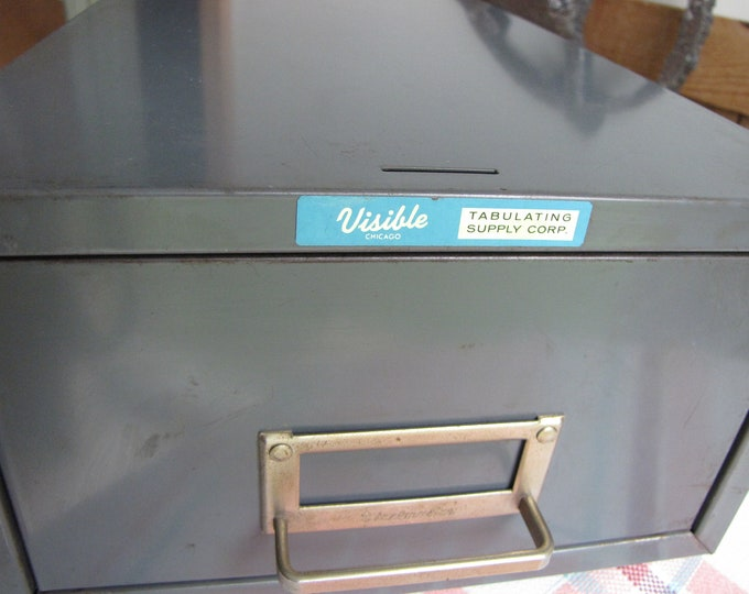 Visible Metal Card File Vintage Office and Storage Industrial Salvage