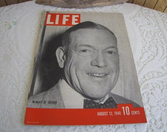 Life Magazine 1940 August 12 McNary of Oregon Vintage Magazines and Advertising