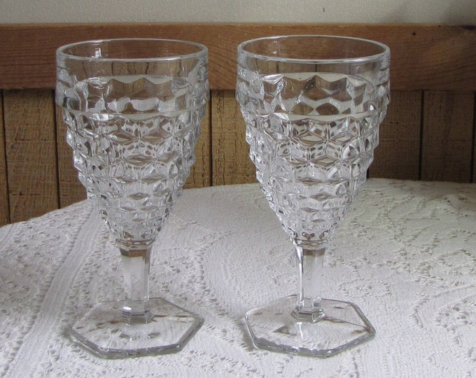 Fostoria American Water Goblets Two (2) Wine Glasses Vintage Drink and Barware