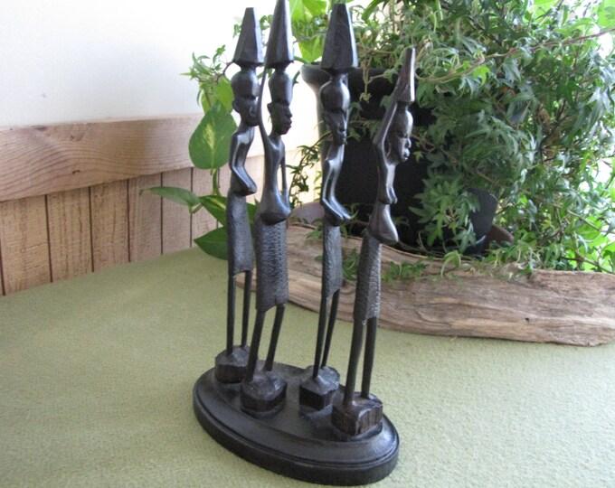Vintage African Tribal Figurine Black Wood Hand Carved Sculpture Indigenous Art