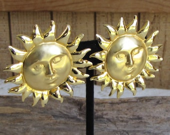 Sun Clip On Earrings Vintage Jewelry and Accessories Gold Toned