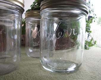 Vintage Kerr Mason Jar Set of Seven (7) Pint Wide Mouth Self Sealing Canning or Fruit Jars