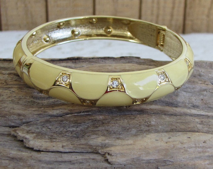 Enamel Yellow Bracelet with Rhinestones Gold Toned Vintage Jewelry and Accessories