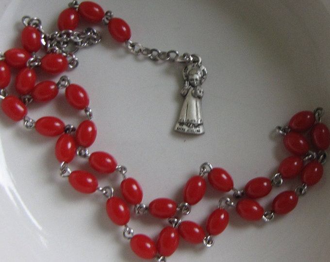 Vintage Red Rosary Dyed Jadeite and Sterling