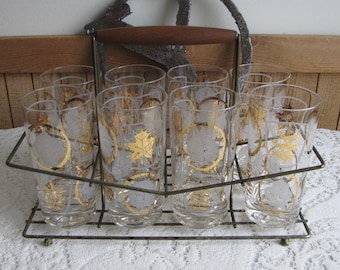 Gold and White Bar Glasses with Rack Vintage Bar and Drinkware Mid Century Barware