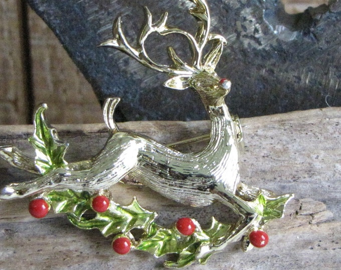 Gerry's Gold Toned Reindeer Brooch Vintage Holiday Jewelry and Accessories