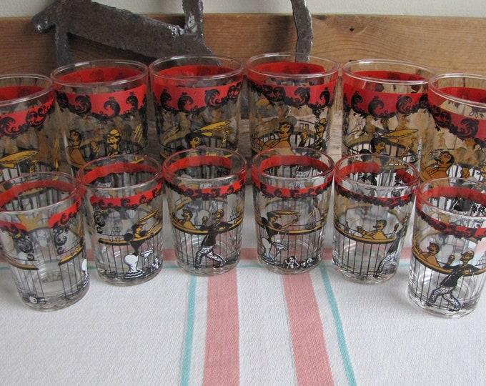 Bar Scene Glasses Vintage Barware and Glass Set of Six (6) Highball and Shot Glasses