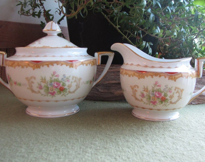 Noritake Lidded Sugar Bowl and Cream Pitcher Vintage Dinnerware and Replacements Circa 1930s