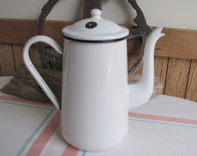 White Enamel Coffee Pot Vintage Kitchens and Rustic Farmhouse Camping Gear and Outdoor Dining